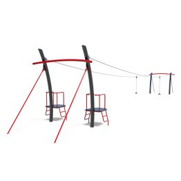 Dual flying fox with platforms from Moduplay's range of cableways