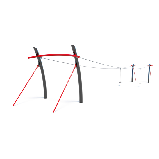 Dual flying fox from Moduplay's range of playground cableways
