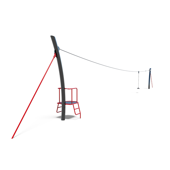 Flying fox with mounting platform from Moduplay's range of playground cableways