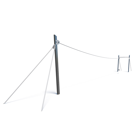 Stainless steel flying fox from Moduplay's range of playground cableways