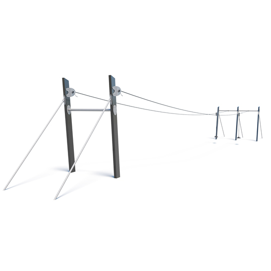 Dual stainless steel flying fox from Moduplay's range of playground cableways