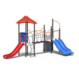 Play tower with bridge and three slides from Moduplay's range of playground systems