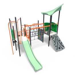 Play tower with net bridge and slide from Moduplay's range of playground systems
