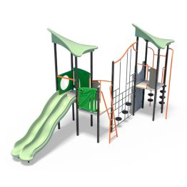 Double play tower with dual slides from Moduplay's range of playground systems