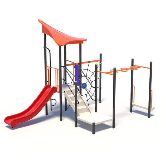 Capital Unit Play Tower with Climb Net and Slide