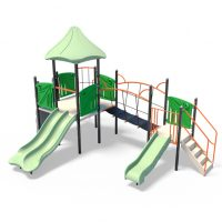 Tower with slides and suspension bridge from Modyplay's range of playground systems