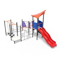 Play tower with double slide and rope climb from Moduplay's range of playground systems