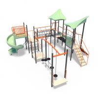 Towers with bridges and spiral slide from Moduplay's range of playground climbing systems