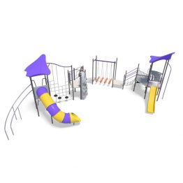Play towers with bridge and slides from Moduplay's range of playground systems