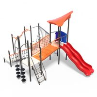 Play tower with nets and dual slide from Moduplay's range of playground systems
