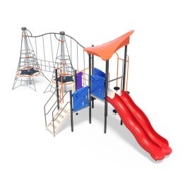 Rope play pinnacles with dual slide from Moduplay's range of playground systems