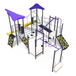 Large combination of obstacles with three slides from Moduplay's range of playground systems