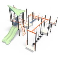 Balance climb and slide obstacle course from Moduplay's range of playground systems