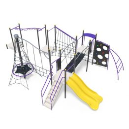 Double tower with slides and rope pinnacle from Moduplay's range of playground systems