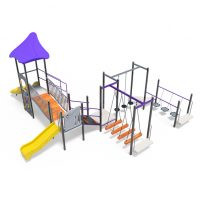 Tower with slides and balance bridges from Moduplay's range of playground systems