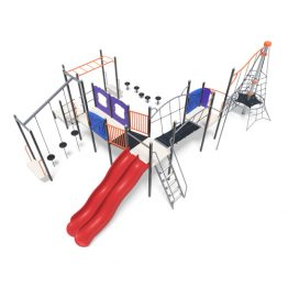 Tower with stepping pods, slides and bridges from Moduplay's range of playground systems