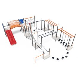 Large play system with balance pods, spider web and slides from Moduplay's range of playground systems