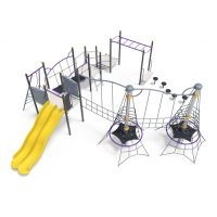 Tower with rope balance, net pinnacles and bridges from Moduplay's range of playground systems