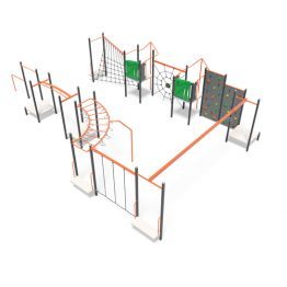 Play obstacles and flying fox from Moduplay's range of playground systems