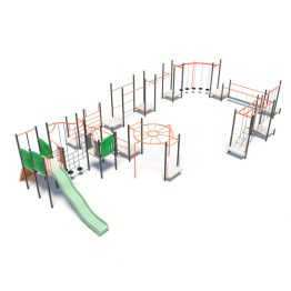 Giant play obstacle course with slide from Moduplay's range of playground systems
