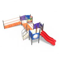 Toddler's play system with bridges from Moduplay's range of playground systems