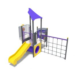 Toddlers play tower with slide from Moduplay's range of playground systems