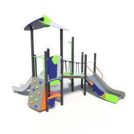 Play tower with metal slide, a playground system from Moduplay