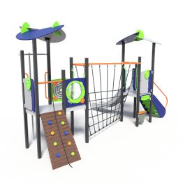Dual play tower with net, a play system from Moduplay.