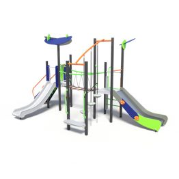 Play tower with two slides, a play system from Moduplay