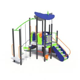 Play tower with parkour ropes, a play system from Moduplay.