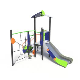 Play tower with climbing net, a play system from Moduplay.