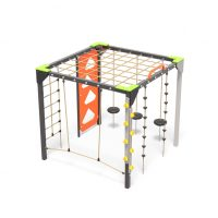 A rope challenge climbing cube, playground equipment from Moduplay