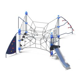 Net play system with metal slide from Moduplay's range of rope playground equipment