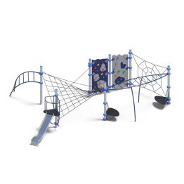 Rope climbing play system with slide from Moduplay's range of rope playground equipment