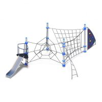 Rope climbing station with bouldering wall from Moduplay
