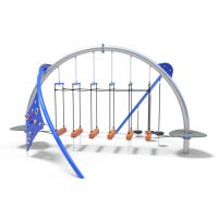 Wobble suspension bridge with climbing panel from Moduplay's range of playground domes