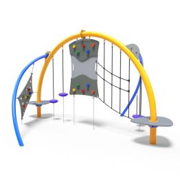 Combination of rope climbing challenges from Moduplay's range of playground domes