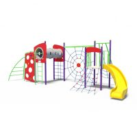 Climbing challenges with tunnel and slide from Moduplay's range of playground climbing systems