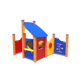 Cottage with play panels from Moduplay's range of playground cubbies