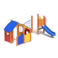 Cottage with net ladder and slide from Moduplay's range of playground cubbies