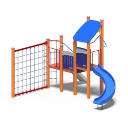 Play tower with rope net from Moduplay's range of wood play systems