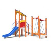 Play tower with bridge from Moduplay's range of wood play systems