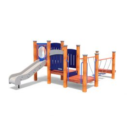 Multi-platform system with slide from Moduplay's range of wood playground systems