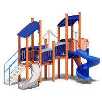 Dual play tower from Moduplay's range of wood playground systems