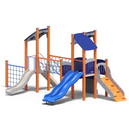 Dual tower play system from Moduplay's range of wood playground systems