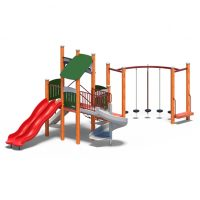 Multi-slide play tower from Moduplay's range of wood playground systems