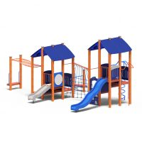 Dual cubby towers from Moduplay's range of wood playground systems