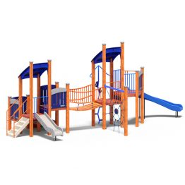 Dup play tower and bridge from Moduplay's range of wood playground systems