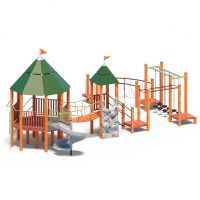 Play towers with suspension bridge, slide and bouldering wall from Moduplay's range of wood playground systems