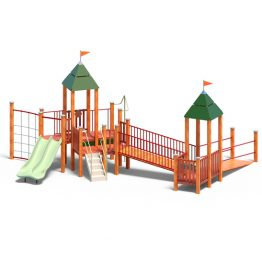 Dual tower and slides from Moduplay's range of wood playground systems